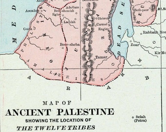 Antique Map of Ancient Palestine - Showing the Location of the Twelve Tribes of Israel - 1888 Vintage Map