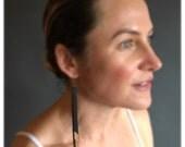 Black leather shoulder duster earrings