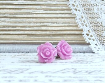 Rose Stud Earrings Purple Studs Purple Rose Earrings Purple Flower Studs Surgical Steel