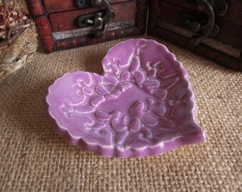 SALE,  Ring dish  - Handmade lavender ring holder - Love and lace design