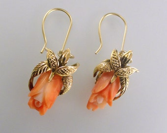 A pair of Victorian Dangle Earrings with Carved Coral Roses, Set in 14k Yellow Gold (A1836)