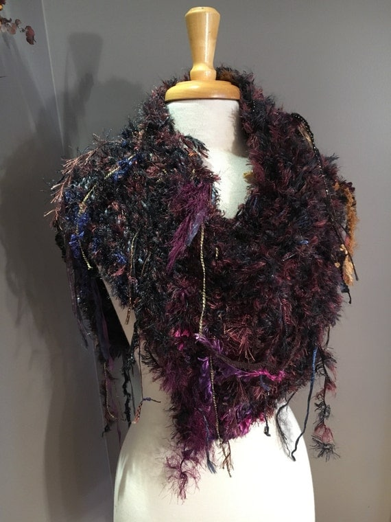 Hand knit funky poncho, Dumpster Diva 'Mirage', Fringed Poncho, shoulder wrap, fur fashion, Black Brown and Purple, boho fur wrap, sweaters