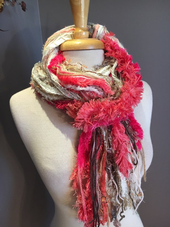 Fringie in Peachy Keen, Peach and Cream scarf, handmade fringe scarf with knots, chunky yarn scarf, Funky Scarf, faux fur fashion, pink