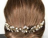 Bridal headpiece headband ivory gold crystal pearl leaf Greecian style.