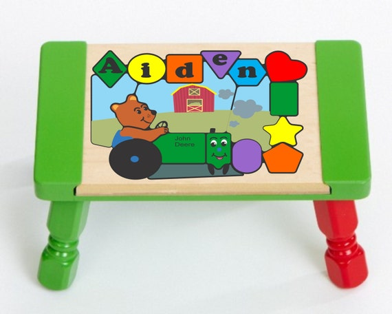 Personalized Name John Deere International Bear Tractor Puzzle