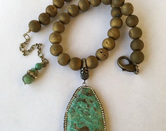 Turquoise Pave Pendant with Frosted Agate Druzy's Statement Necklace