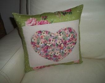 Heart Pillow ~ Shabby Rose Pillow ~ Applique Heart Pillow