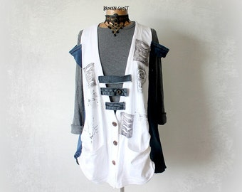 Rustic White Tunic 90's Grunge Wear Up Cycle Recycle Painted Clothes Women Denim Shirt Off Shoulder Top Wearable Art Clothing L XL 1X 'DEENA