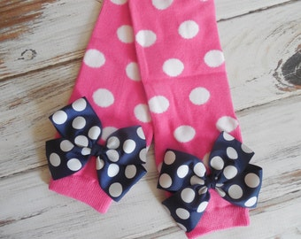 Hot Pink And Navy polka Dot Leg Warmers with Matching Bows for Baby Toddler Girl