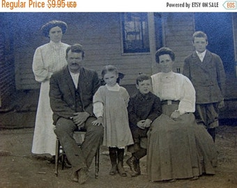 ON SALE Antique Gorgeous RPC Postcard Haute Fashion Family