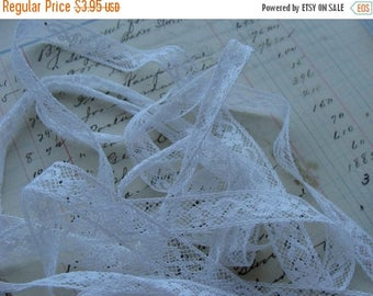 ONSALE Vintage French White Netted Lace Yardage