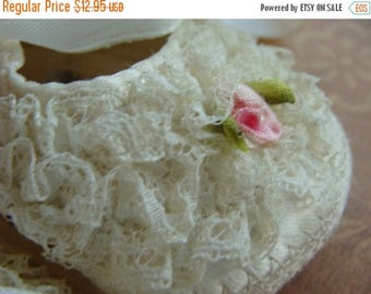 ON SALE Vintage Baby Sweet and Soft, lace and Silk highly detailed Baby Shoes