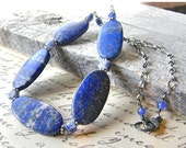 20% OFF Royal Blue Lapis Lazuli Necklace, Chunky Cobalt Blue Necklace, Denim Blue Necklace