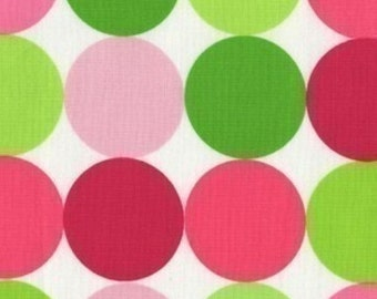 SALE FABRIC - Disco Dot Sorbet, Michael Miller Fabric, 100% Cotton Fabric, Pink and Green Polk Dot Fabric