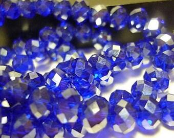 8 AB Cobalt Blue 8mm  Crystal Rondelle Beads 8