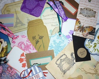 10 Mystery Paper Tags, Lot handmade Paper Tags,Art Tags-Thank you Tags