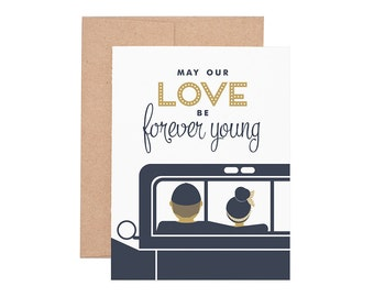 Forever Young Letterpress Greeting Card - Blank Card | Love Card | Valentine's Day | Greeting Cards