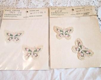 Four Vintage 60's Lacy Embroidered Butterflies Appliques/Franken Trimming Co./NOS/Trim/ Appliques/Crafts/Sewing Fashion/DIY/Embellishments