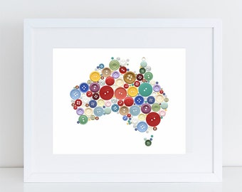 australian nursery art - aussie buttons map of Australia, kids room decor, colourful artwork for girls or boys, playroom decor, country art
