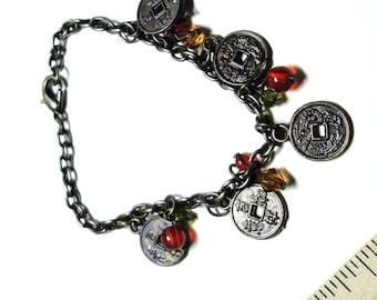 Antiqued Brass-Tone Charm Bracelet with Asian Coins and Beads Mini I-Ching Coins