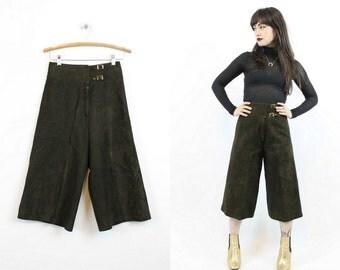 70s Leather Gauchos Culottes Pants XS / 1970s Vintage Wide Leg Pants / Joseph Magnin Palazzos