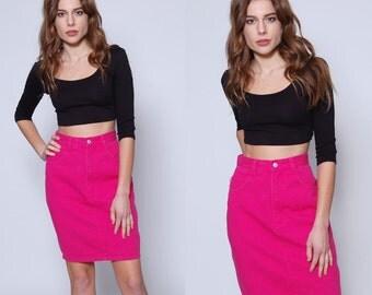 Vintage 90s PINK Denim Skirt HIGH WAIST Pencil Skirt Jordache Denim Mini Skirt