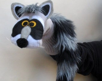 SALE Handmade Raccoon Sock Puppet. Codes below