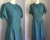 Smart Vintage 1950s Greed Plaid Dress Size Medium