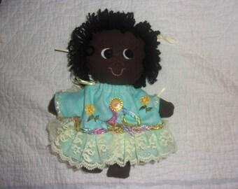 Small Fancy Black Rag Doll..