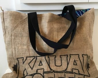 Kauai Coffee Company Burlap Coffee Sack Tote/ Beach Bag/ Market Bag