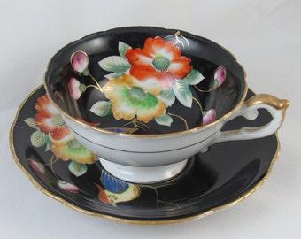 Vintage Ardalt / Lenwile / Occupied Japan cup and saucer / black / bird / porcelain / china / bone china / shabby chic / tea / coffee