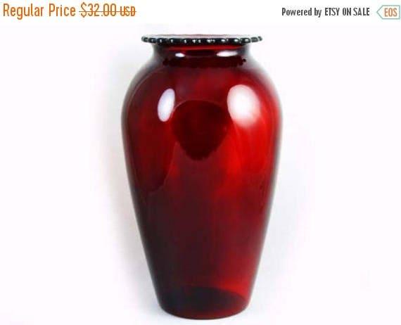 SPRING CLEANING SALE Vintage Art Deco mid century ruby red art glass crystal urn vase fluted rim