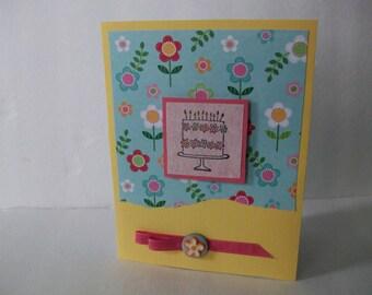 Birthday Cake Card, Handmade Flower Cake Card, Pretty Flower Card, Handstamped Celebrate Card