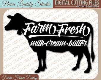 Milk Cow SVG, Country Cow Clipart, Farm Fresh Milk SVG File For Silhouette Pattern, SVG File For Cricut Projects, svg Format File, dxf File