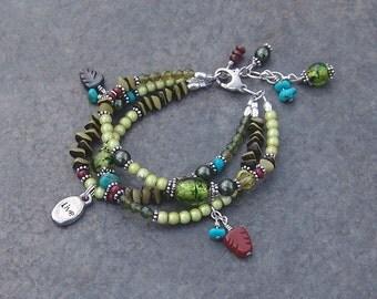 Sundance Inspired Green Bead Triple Strand Artisan Charm Bracelet