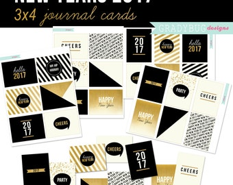 Journal Cards, Digital 3x4 Cards, New Years 2017, Digital Journal Cards, Gold Journal Cards, Gold, Black, Happy New Year, Instant Download