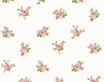 Dollhouse Miniature Small Scale Computer Printed Fabric Pink Roses Floral