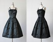 Vintage 1950s Black Party Formal Dress / 50s Cocktail Dress / Satin Rossete Details