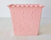 Vintage Pink Shabby Chic Wastepaper Basket / Max Klein Pink Lace Rose Trash Can