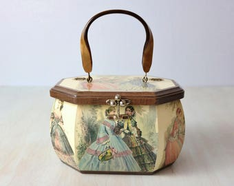 Vintage Wood Box Purse Handbag / Novelty Handbag / Hand Painted Wood Purse / Parlor Games