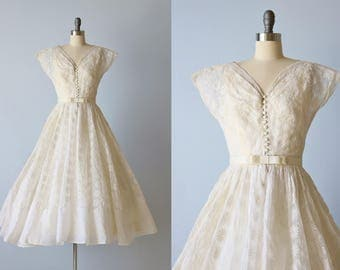 1950s Tea Length Wedding Dress / 1950s Embroidered Organdy Wedding Gown / Clementine