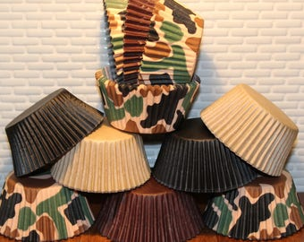 Camouflage  Heavy Duty Party Pak (Qty 31) Cupcake Liners, Baking Cups, Brown Cupcake Liners, Black Cupcake Liners, Natural Cupcake Liners