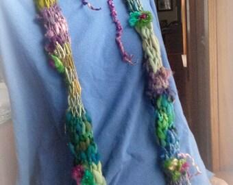 RESERVED - rustic handknit scarf long art yarn scarf patchwork gypsy boho skinny scarf - twilight rose daydream scarf
