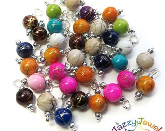 Drawbench Acrylic Bead Charms, Pre-wired Dangle Beads for DIY Charm Bracelets in mixed color - handmade jewellery supplies UK