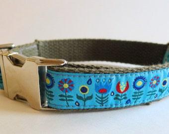 Blue Modern Flowers Cotton Webbing Dog Collar with Metal Buckle - Medium