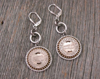 Quincy Illinois Bus Token Earrings - Transit Token Jewelry - Coin Jewelry - Gift for Her - Holiday Gift