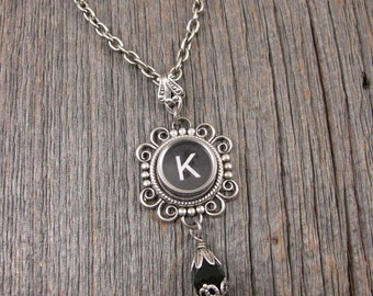 Typewriter Key Jewelry - Personalized Jewelry - Black Initial K Typewriter Key Necklace - Gift for Woman - Type Key Necklace