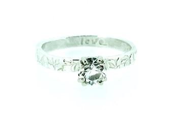herkimer diamond engagement ring with silver vine band . alternative engagement ring . prong set herkimer diamond ring