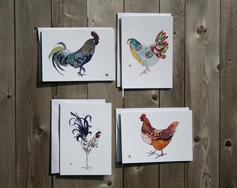Chicken and Rooster Note Card Set of 4, 8 or 12