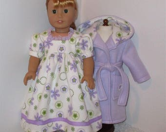 """Lavender Robe and Slippers with Flannel Nightgown, Fits 18"""" Dolls // AG Nightgown Set, American Girl, Slippers, AG Doll Clothes, Sleepwear"""